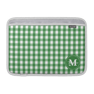 Green White Gingham Pattern Custom Monogram MacBook Sleeve
