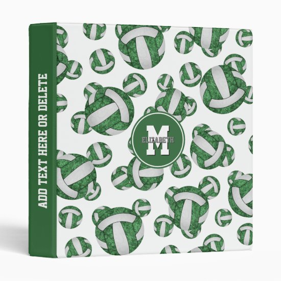 green white girls school colors volleyball pattern 3 ring binder