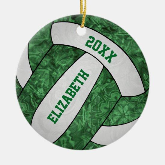 green white girly volleyball festive ceramic ornament