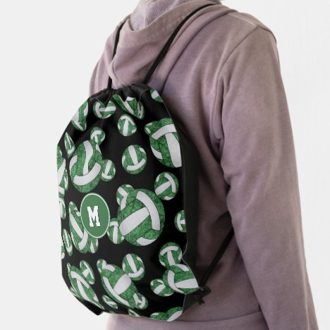 green white girly volleyball team colors drawstring bag