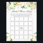 "Green White Gold Floral Bridal Shower Bingo Game Flyer<br><div class=""desc"">Green White Gold Floral Bridal Shower Bingo Game Flyer.</div>"