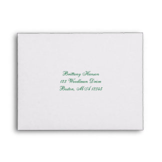 Green White Gold Scroll A2 Envelope for RSVP Card