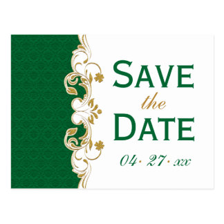 Green White Gold Scrolls Save the Date Postcard