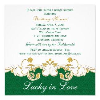 Green White Gold Scrolls, Shamrocks Bridal Shower Invitation