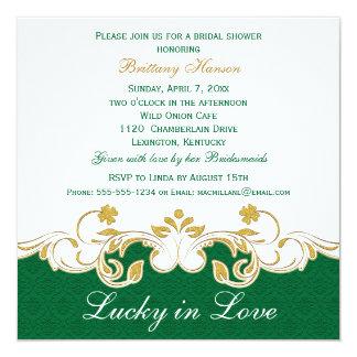 Green White Gold Scrolls, Shamrocks Bridal Shower 5.25x5.25 Square Paper Invitation Card
