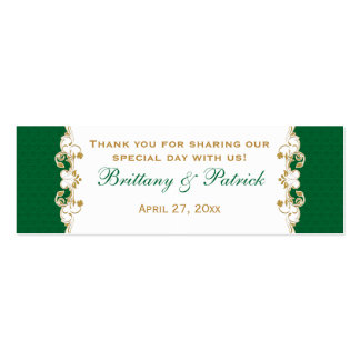 Green White Gold Scrolls, Shamrocks Favor Tag 2 Double-Sided Mini Business Cards (Pack Of 20)