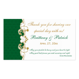 Green White Gold Scrolls, Shamrocks Favor Tag Double-Sided Standard Business Cards (Pack Of 100)