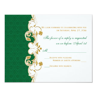Green White Gold Scrolls, Shamrocks RSVP Card
