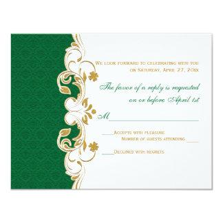Green White Gold Scrolls, Shamrocks RSVP Card