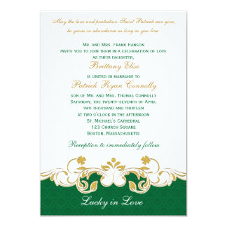 Green White Gold Scrolls, Shamrocks Wedding Invite