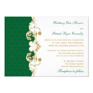 Green White Gold Scrolls, Shamrocks Wedding Invite at Zazzle