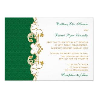 Green White Gold Scrolls, Shamrocks Wedding Invite