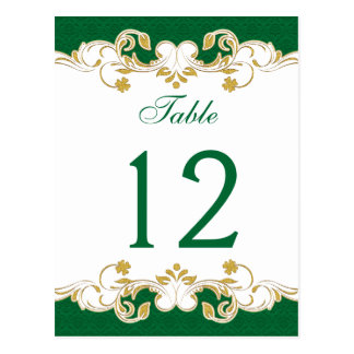 Green, White, Gold Scrolls Table Number Card