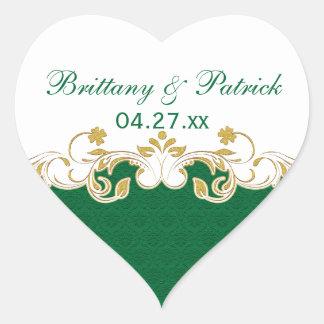 Green White Gold Scrolls Wedding Favor Sticker