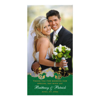 Green, White, Gold Scrolls Wedding Photo Card
