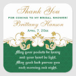 Green White Gold Shamrocks Bridal Shower Sticker