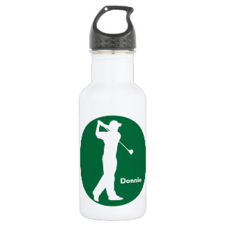Green White Golfer Golf Personalized Water Bottle