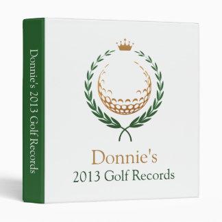 Green White Golfer Golf Score Record Keeping Binder