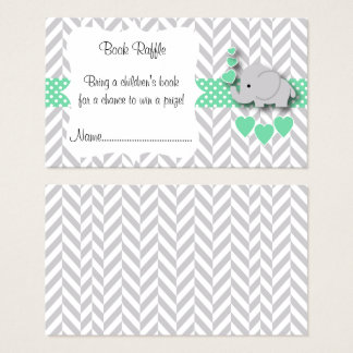 Green, White Gray Elephant Baby Shower Book Raffle Business Card