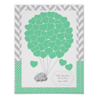 Green, White Gray Elephant Baby Shower  - Guest Poster