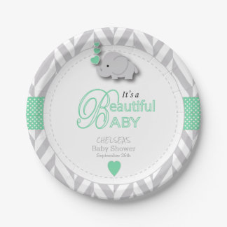 Green, White Gray Elephant Baby Shower Paper Plate