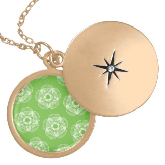 green white guilloce pattern round locket necklace