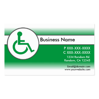 Green white handicapped symbol business cards