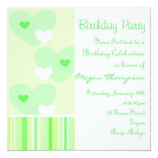 Green & White Heart Design Birthday Invitation