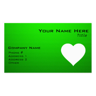 Green & White Heart Double-Sided Standard Business Cards (Pack Of 100)