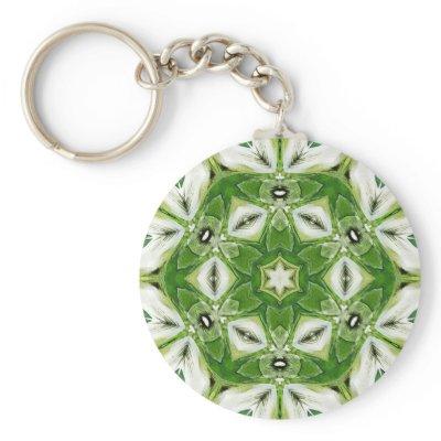 Green White Hexagon Kaleidoscope Keychain keychain