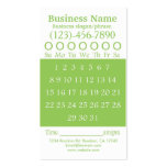Green white hole punch appointment card business card