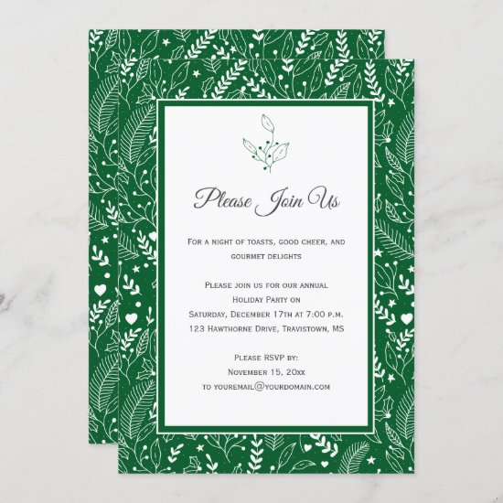 Green White Holly Berries Floral Swirls Patter Invitation