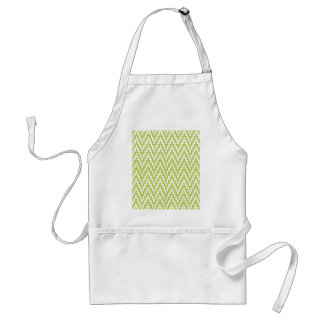 Green White Ikat Chevron Zig Zag Stripes Pattern Apron