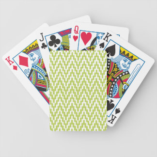 Green White Ikat Chevron Zig Zag Stripes Pattern Bicycle Playing Cards