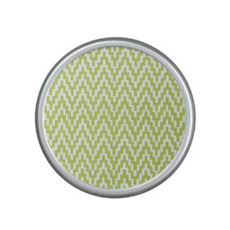 Green White Ikat Chevron Zig Zag Stripes Pattern Bluetooth Speaker