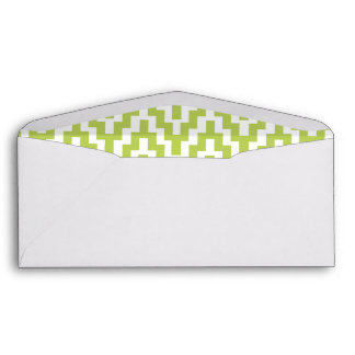 Green White Ikat Chevron Zig Zag Stripes Pattern Envelopes