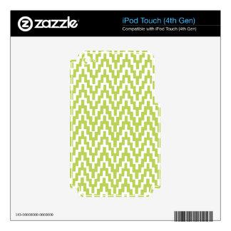 Green White Ikat Chevron Zig Zag Stripes Pattern iPod Touch 4G Skins