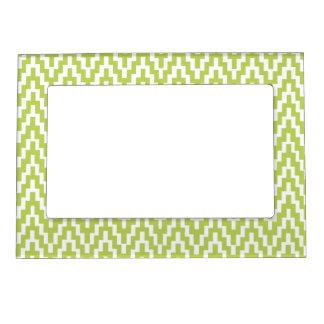 Green White Ikat Chevron Zig Zag Stripes Pattern Magnetic Frame