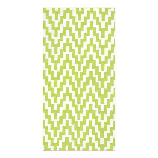 Green White Ikat Chevron Zig Zag Stripes Pattern Photo Card