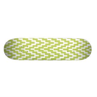 Green White Ikat Chevron Zig Zag Stripes Pattern Skateboard Deck