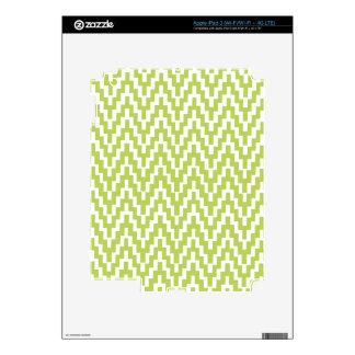 Green White Ikat Chevron Zig Zag Stripes Pattern Skin For iPad 3