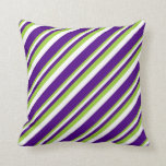 [ Thumbnail: Green, White & Indigo Colored Pattern Throw Pillow ]