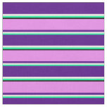 [ Thumbnail: Green, White, Indigo, Violet & Black Stripes Fabric ]