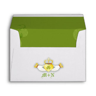 Green + White Irish Wedding Invitation A7 Envelope
