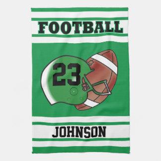 Green & White Jersey Stripes Sport Football Kitchen Towels