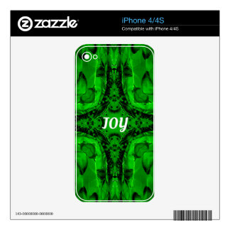 Green White 'Joy'  Modern Holiday Pattern Decal For iPhone 4