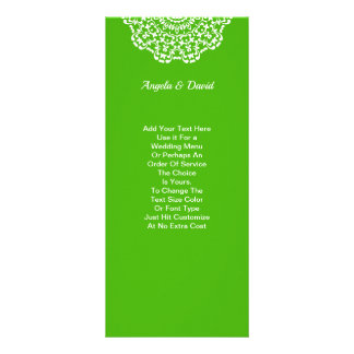 Green White Lacy Pattern Personalized Rack Card