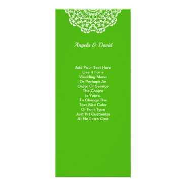 Professional Business Green White Lacy Pattern Personalized Rack Card