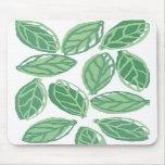 green white leaves mousepad