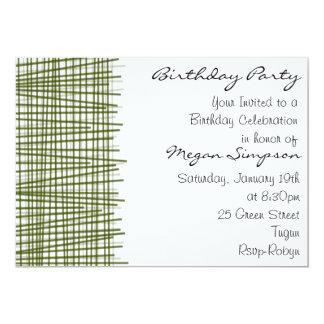 Green & White Line Modern Birthday Invitation